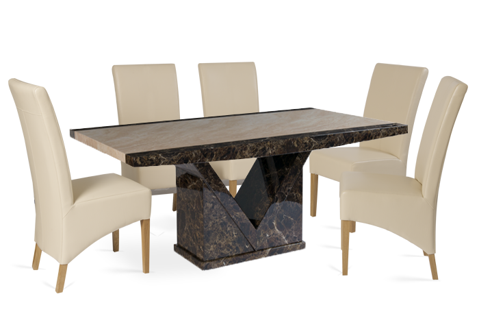 Tenore Marble Dining Table with Cream Cannes Leather Chairs