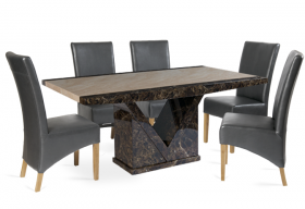 Tenore Marble Dining Table with Grey Cannes Leather Chairs