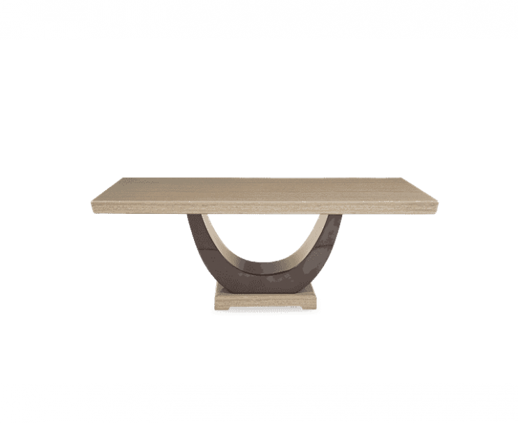 Raphael 200cm Brown Pedestal Marble Dining Table
