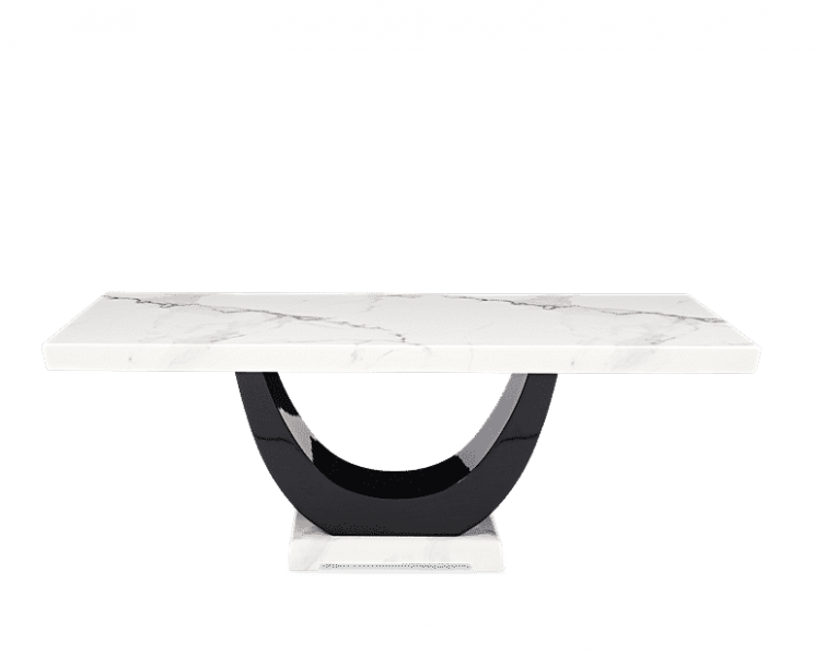 Raphael 200cm White Pedestal Marble Dining Table