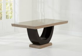 Raphael Brown Pedestal Marble Dining Table