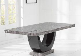 Raphael Grey Pedestal Marble Dining Table