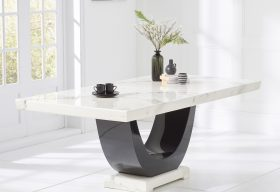 Raphael White and Black Pedestal Marble Dining Table