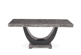Raphael 200cm Dark Grey Pedestal Marble Dining Table