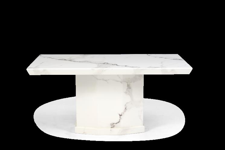 Carvelle 160cm White Pedestal Marble Dining Table