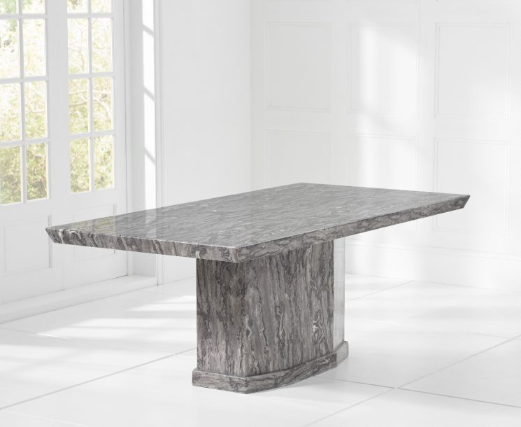 Carvelle 160cm Grey Pedestal Marble Dining Table