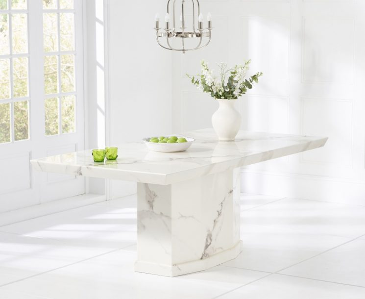 Carvelle 160cm White Pedestal Marble Dining Table