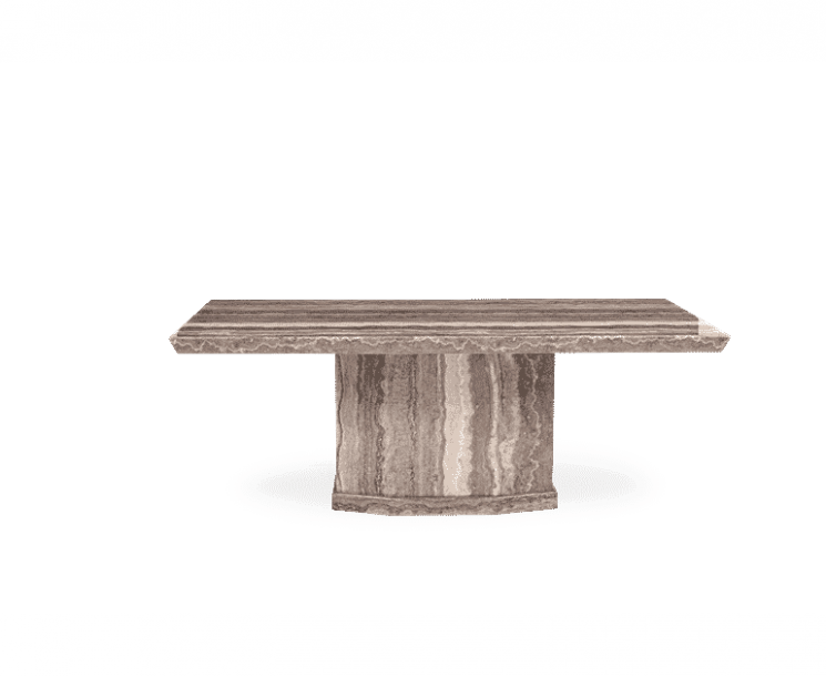Carvelle 160cm Brown Pedestal Marble Dining Table