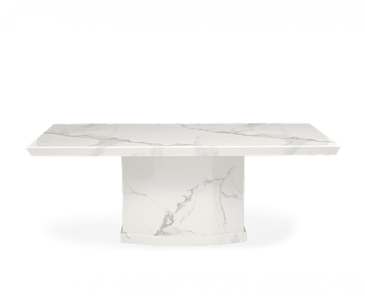 Carvelle 200cm White Pedestal Marble Dining Table