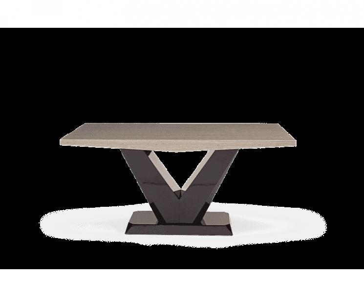 Verbier 160cm Brown V Pedestal Marble Dining Table