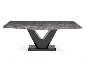 Verbier 160cm Grey V Pedestal Marble Dining Table