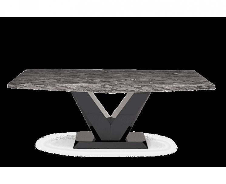 Verbier 160cm Grey V Pedestal Marble Dining Table