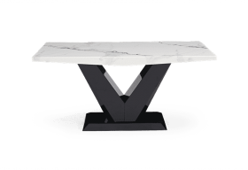 Verbier 160cm White V Pedestal Marble Dining Table