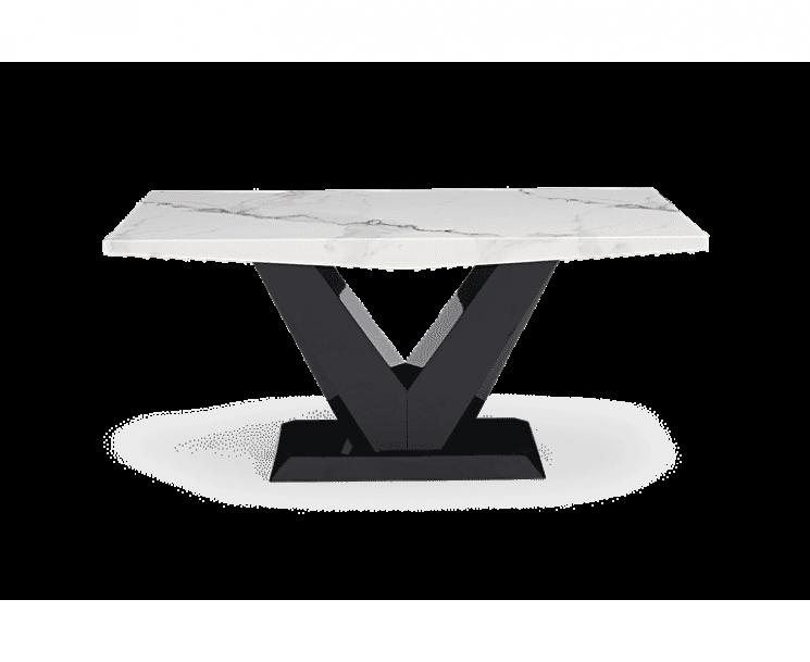 Verbier 160cm White V Pedestal Marble Dining Table