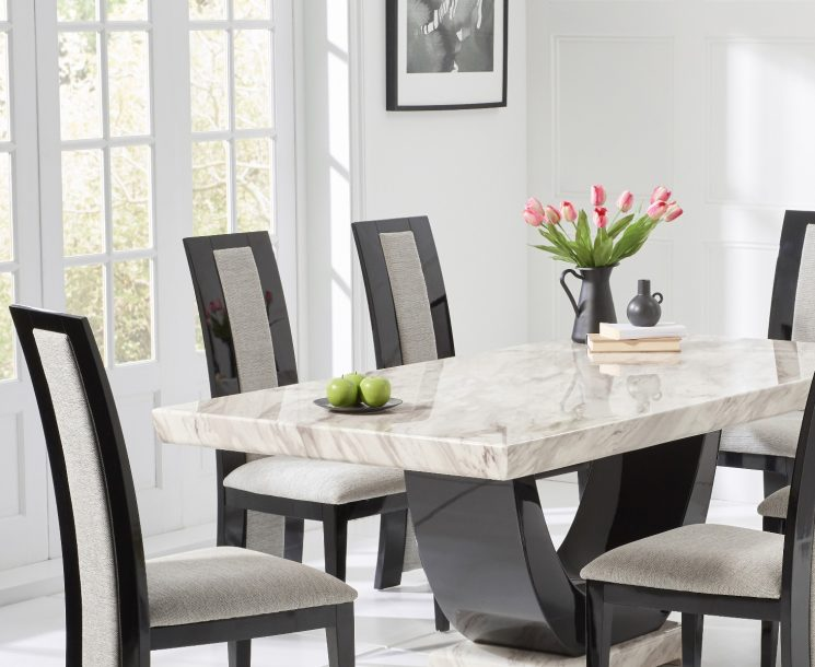 Raphael 170cm Cream and Black Pedestal Marble Dining Table with Raphael Chairs