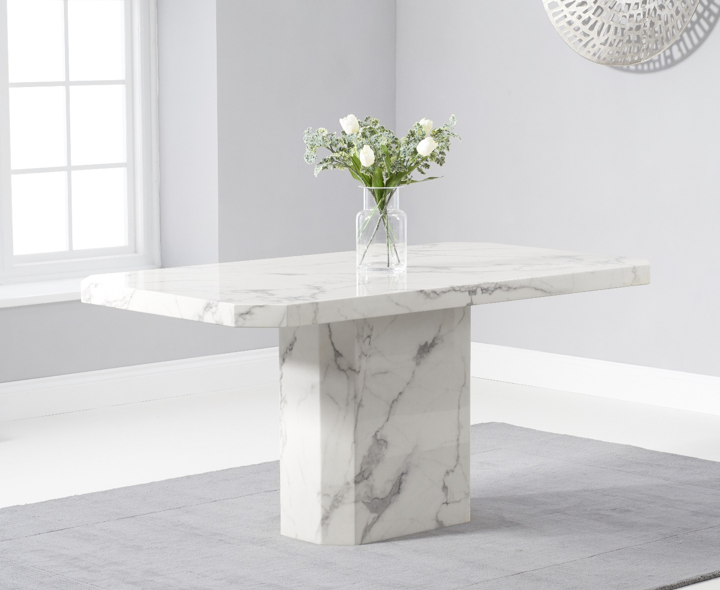 Belle 160cm Marble White Dining Table Thomas Brown Furnishings