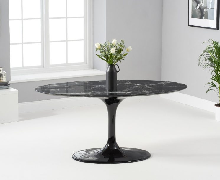 Brighton 160cm Marble Oval Black Dining Table