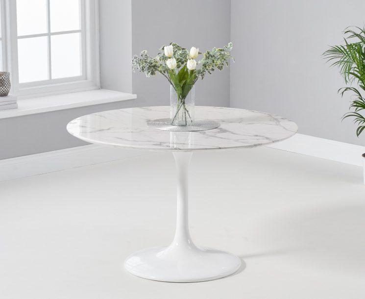 Brighton 120cm Round Marble White Dining Table