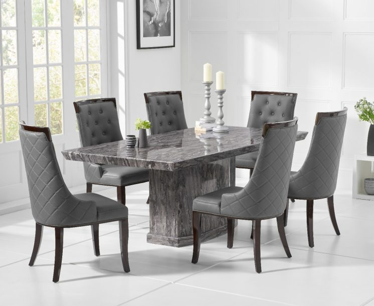 Carvelle 200cm Grey Pedestal Marble Dining Table with Angelica Chairs