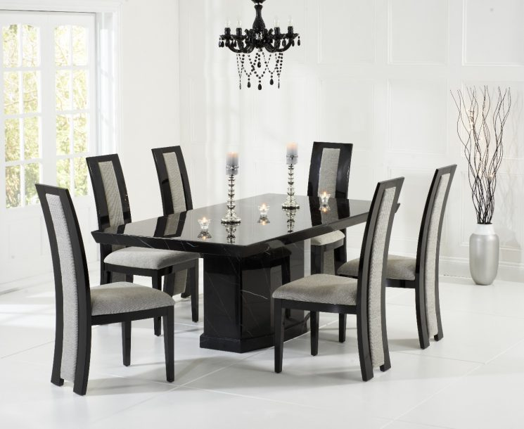 Carvelle 200cm Black Pedestal Marble Dining Table with Raphael Chairs