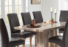 Carvelle 200cm Brown Pedestal Marble Dining Table with Cannes Chairs