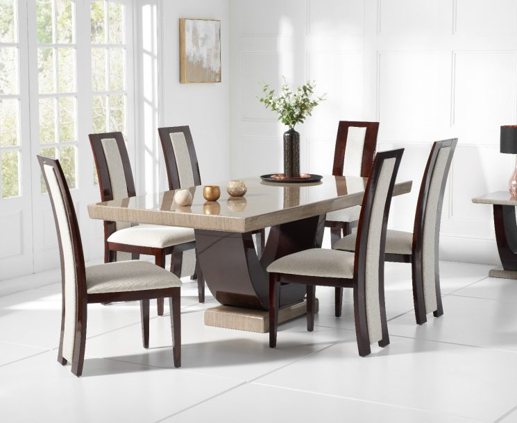 Raphael 170cm Brown Pedestal Marble Table with Raphael Chairs