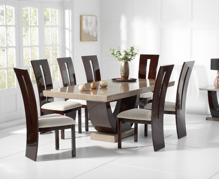 Raphael 170cm Brown Pedestal Marble Dining Table with Verbier Chairs