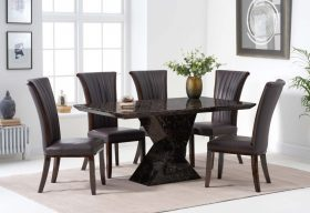 Tenore 160cm Brown Marble Dining Table with Alpine Chairs