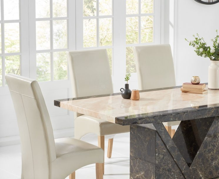 Tenore 160cm Marble Effect Dining Table with Cannes Chairs