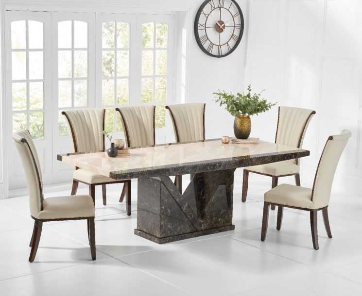 Tenore 220cm Marble Effect Dining Table with Alpine Chairs