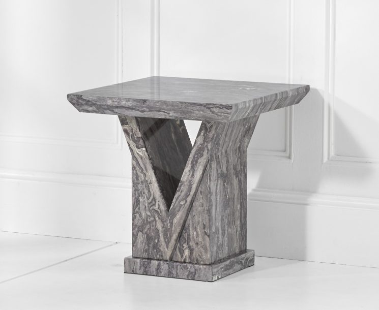Mocha Grey Marble Side Table