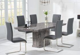 Carvelle 200cm Dark Grey Pedestal Marble Dining Table with Malaga Chairs