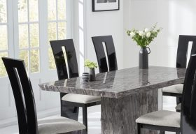 Carvelle 200cm Dark Grey Pedestal Marble Dining Table with Verbier Chairs