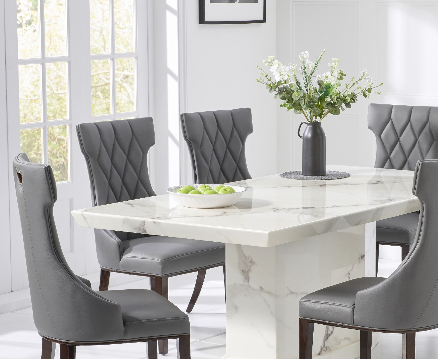 carvelle 200cm white pedestal marble dining table with