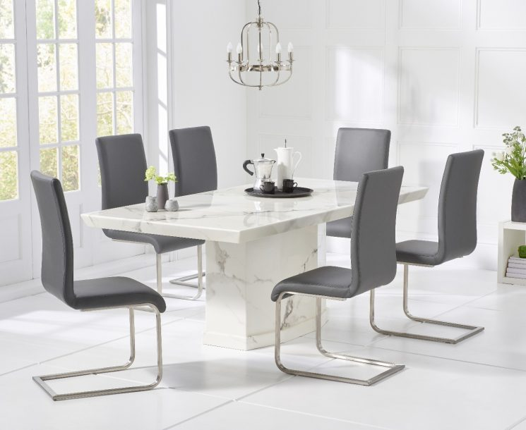 Carvelle 200cm White Pedestal Marble Dining Table with Malaga Chairs