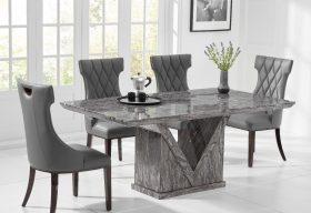 Mocha 160cm Grey Marble Dining Table with Freya Chairs