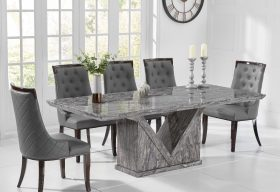 Mocha 220cm Grey Marble Dining Table with Angelica Chairs