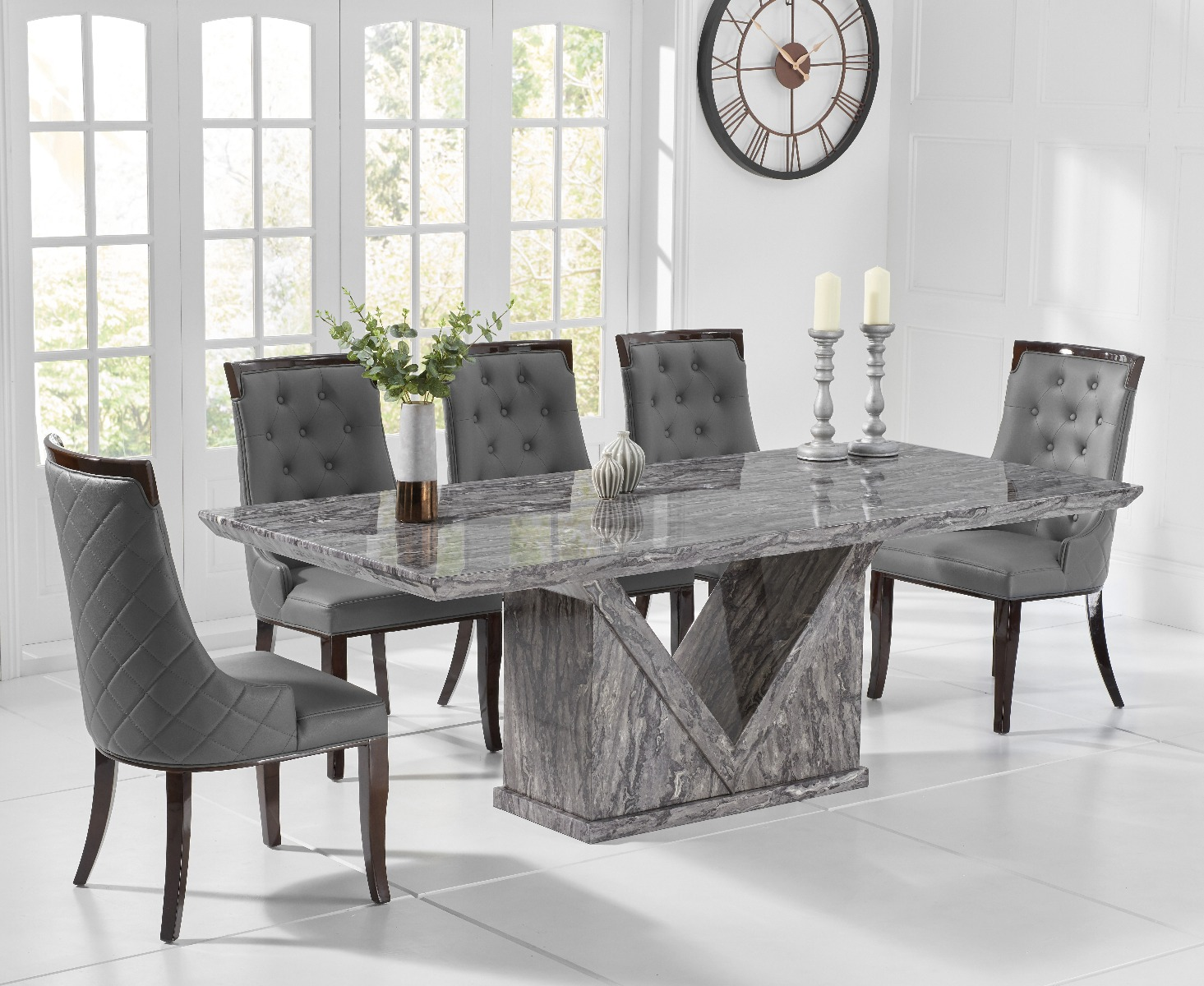 Mocha 9cm Grey Marble Dining Table with Angelica Chairs
