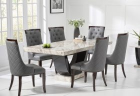Raphael 170cm Cream and Black Pedestal Marble Dining Table with Angelica Chairs