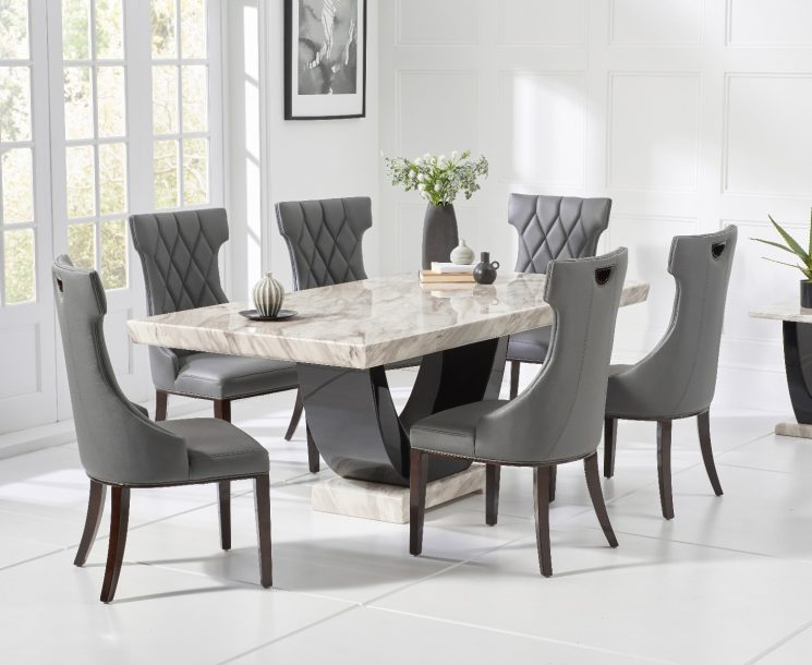 Raphael 170cm Cream and Black Pedestal Marble Dining Table with Freya Chairs