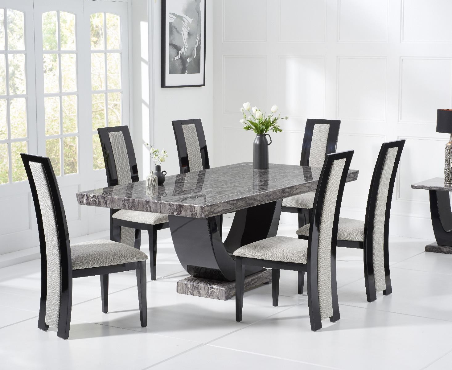 Raphael 170cm Dark Grey Pedestal Marble Dining Table with Raphael Chairs