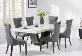 Raphael 170cm White and Black Pedestal Marble Dining Table with Freya Chairs